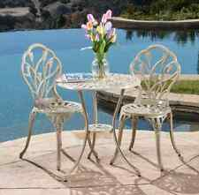 Small White Bistro Set Iron Table Chairs Outdoor Patio Deck Pool Furniture NEW!