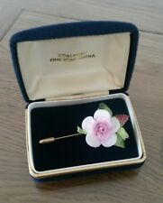 VINTAGE CERAMICA INGLESE FINE PORCELLANA CINESE STICK Pin Spilla PINK ROSE IN SCATOLA
