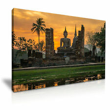 Sunset Buddha Temple Thailand Canvas Wall Picture Print A1 76x50cm Special Offer