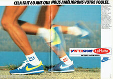 PUBLICITE ADVERTISING 016  1985  INTERSPORT LA HUTTE baskets chaussettes NIKE 2P