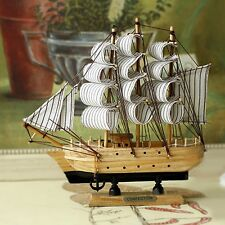 "Model Ship 6"" Wooden Sailboat Handcrafted Wooden Sailing Boat Home Decor #8"