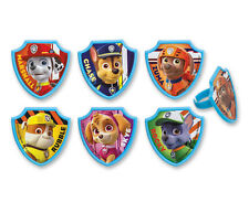 12 PCS Paw Patrol Cupcake Cake Decorating Supplies Topper Pops Rings Favors