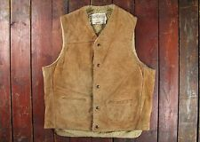 VTG SCHOTT RANCHER BROWN SUEDE LEATHER SHERPA LINED WESTERN VEST WAISTCOAT LARGE
