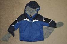 NWT $80-Boys ZeroXposur Blue Hooded Winter Snow Ski Jacket, Mittens & Hat-sz 4
