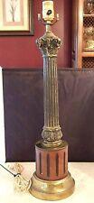 Vintage Ornate Wood Meta Brassl Pillar Stick Column Table Lamp Base