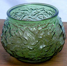 Vintage E. O. Brody Co. Avocado Green Rippled Glass Bowl Candy Dish Planter Vase