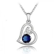 18K White Gold GP Blue Sapphire Swarovski Crystal  Heart Necklace Chain Pendant