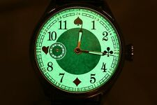Poker Rare Russian watch with Luminous hands/dial Full House playing cards