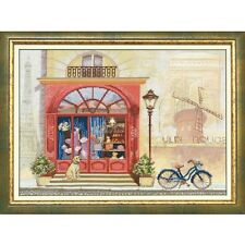 Counted Cross Stitch Kit TRAVEL TO FRANCE Dog Animals Flowers Buildings a bike