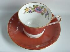 Aynsley Floral TEA CUP AND SAUCER Set Fine Bone China England EC Lovely Orange!