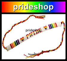 White With Rainbow PRIDE Cotton Flat Friendship Bracelet Lesbian Gay Pride #1445