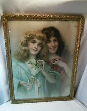 Vtg LG Victorian Shabby Gold frame Girls SISTERS 20-40's Litho print