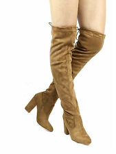 Nia Round Toe Over The Knee Thigh High Dress Chunky Heel Suede Women's Boots