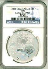 2013 S$1 New Zealand Kiwi Early Release NGC SP70