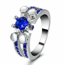 5.0/ct Blue Sapphire 10KT White Gold Filled Engagement & Wedding Ring Size 8