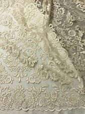 "CREAM MESH CORDED EMBROIDERY BEIDAL LACE FABRIC 50"" WiIDE 1 YARD"