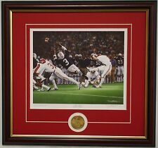 """ALABAMA football """"The Kick"""" framed print & coin signed by Daniel Moore"""
