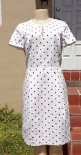 BROOKS BROTHERS WHITE & BLACK POLKA DOT FITTED CASUAL CAP SLEEVE DRESS Sz 6