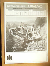 Catalogue Défonceuse GIMAC Bull Dozer INTERNATIONAL  IH Mac Cormick  Truck LKW
