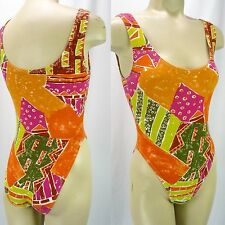 Vintage 80s Colorful Ethnic Graphic Hi-Cut Leotard Workout Bodysuit S Orange