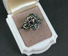 Vintage Sterling Silver Art Nouveau Ring Maiden Lady Face Poppies Flowers Sz 7.5