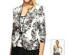 Alex Evenings Jacket Blouse Set Sz S Black White Evening Cocktail Dinner Top Set