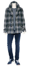 NWT BURBERRY BRIT $1195 MENS  WOOL NOVA CHECK PEACOAT JACKET COAT SZ XL