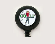 GOLF Retractable ID Card Holder/Badge Reel/Key Ring/Security Chain Club Golfer