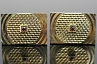 Vintage Signed Swank MCM Deco Diamond Cut Ruby Red Gold Tone Men's Cufflinks