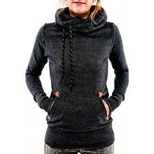 Womens Winter Turtleneck Hoodie Long Sleeve Slim Fit Sweatshirt Jumper Coat Tops