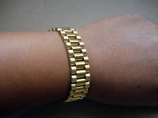 GOLDEN SOLID STAINLESS STEEL PRESIDENT MENS WRIST BRACELET WITH HIDDEN CLASP