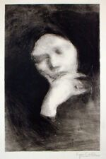 """French Lithograph EUGENE CARRIERE 'Meditation'  9.5"""" x 6"""""""