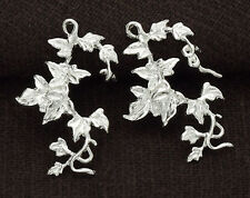 925 Sterling Silver 2  Ivy Leaf Charms  15x23mm. Delicate Charms