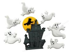Jesse James Buttons - Dress It Up ~ BEWARE OF GHOSTS 5598 ~ Haunted House Ghosts