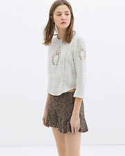 ZARA WOMAN FLOWY RHINESTONE SEQUIN EMBELLISHED EMBROIDERY SHORTS M 10 12!