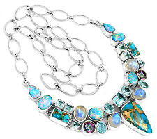 35g Copper Blue Turquoise & Blue Topaz 925 Silver Necklace Jewelry SN15665