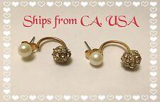 Women Gold Double Beads Ball Rhinestone Crystal Ear Stud Earrings Ships From CA!
