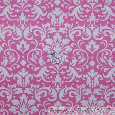 BonEful Fabric Cotton Quilt VTG Pink White Flower Damask Dot Breast Cancer SCRAP