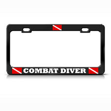 COMBAT DIVER License Plate Frame Heavy Metal LOVE SCUBA DIVING BLACK Tag Border