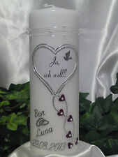 Hochzeitskerze 200/70mm Lila/Silber sehr Edel H058 Ja, ich will!!