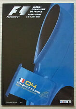 FRENCH GRAND PRIX FORMULA ONE F1 2004 MAGNY COURS Official Programme