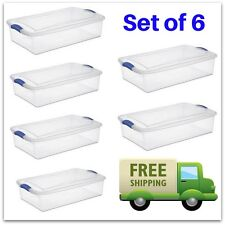 Under The Bed Storage Shoe Tubs Stackable Plastic Bins Drawers Dorm 6 Containers