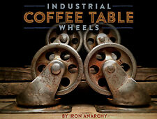 Vtg STEEL INDUSTRIAL CASTERS, Iron Factory Metal Coffee Table Furniture Wheels