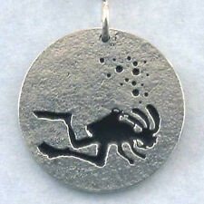 Scuba Diving Kokopelli Necklace Pendant, Diver Jewelry mask fins Sterling Silver