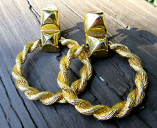 Vintage Chunky Gold Tone signed Chr. DIOR Large Hoop & Stud Drop Clip Earrings