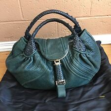 FENDI ZUCCA SPY Large BAG Distressed Lamb Skin Leather Petrol Blue Green DUSTBAG