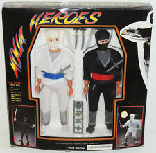 "Scarce Vintage 1990 NINJA HEROES Martial Arts 9"" Samurai Warrior Figure Set MIB"