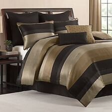 Queen Size Comforter Set Black Gold Tan Satin Finish 8 Piece Bedroom Bedding NEW
