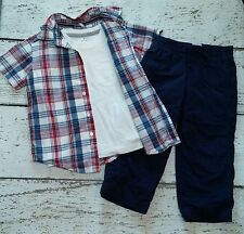 CHILDREN'S PLACE Boys Plaid Button Up, Tee, Pants (4th of July) 3 3T EUC