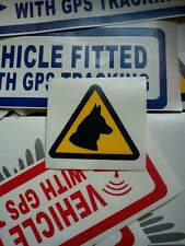 4 x CAUTION DOG TRIANGLE STICKERS -DOG HANDLERS-DOG UNIT-SECURITY-K9-(S33)